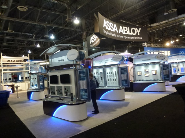 End of first day, the beautiful booth of the Swedish Assa Abloy at ISC West 2012