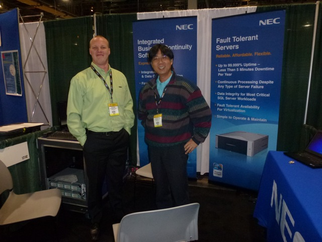 Burton Crosby and his colleague of NEC demoing the fault tolerant servers, ISC West 2012