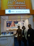 Min-Young Lee and Julia Choi with Time & Attendance products by BioInSec, ISC West 2012